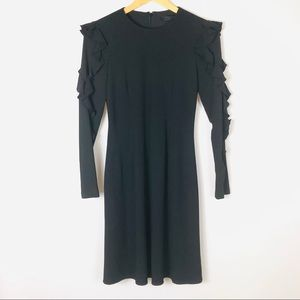 Club Monaco Black LS Ruffle Sleeve Midi Dress 00